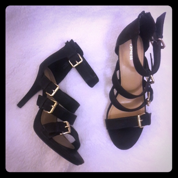 Black And Gold Strappy Heels